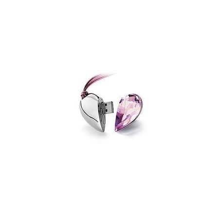 USB флашка бижу - сърце със скъпоценен камък