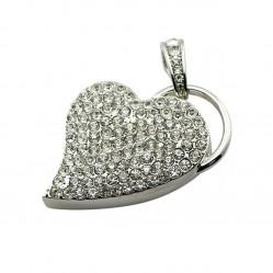 USB флашка сърце обсипано с кристали